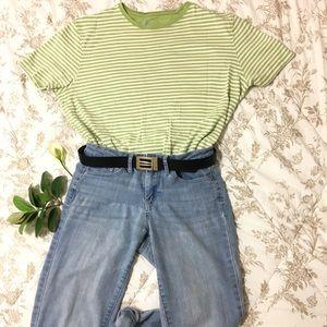 Short Sleeved Lime Striped Crew Neck Shirt